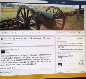 Here's an example of a Civil War interest group on Facebook.