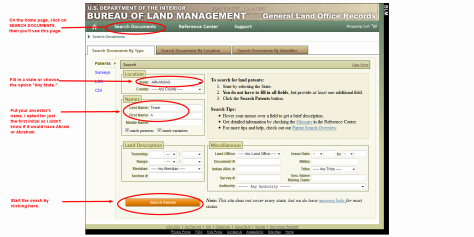 Here's the search form for the land records.
