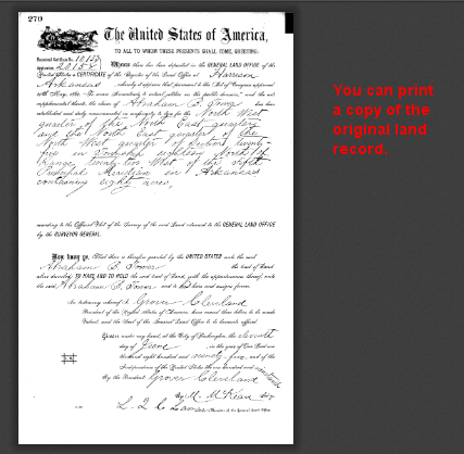You can view the actual land patent.