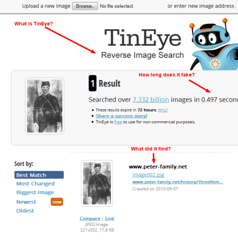 Results of the TinEye search on the photo.