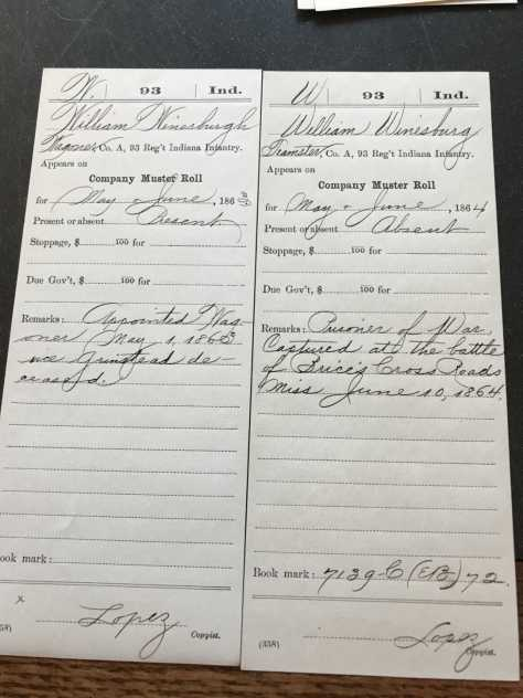 William Winesburg muster roll
